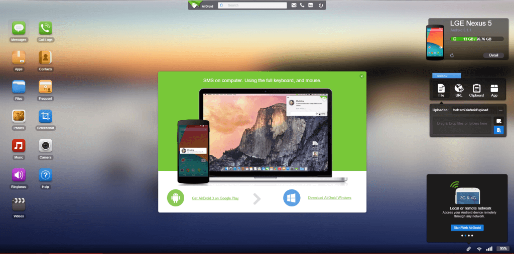 AirDroid Interface On Your Computer