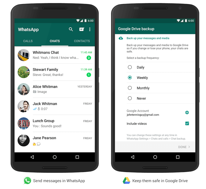 Backup WhatsApp Chat, Photos and Videos To Google Drive With New Update